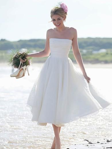 Summer Tea-length Strapless Ruffles Ivory Tulle Wedding Dresses #UKM00022444