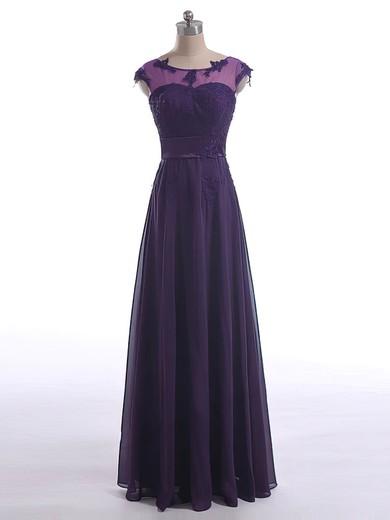 A-line Chiffon with Appliques Lace Cap Straps Scoop Neck Unique Mother of the Bride Dresses #UKM01021602