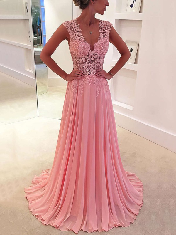 Chiffon A-line V-neck Appliques Lace Formal Dress