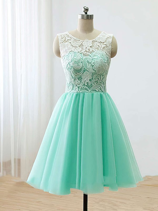 A Line Elegant Lace Prom Dress