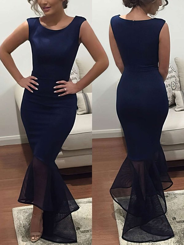 Sexy Mermaid Dark Navy Evening Dress