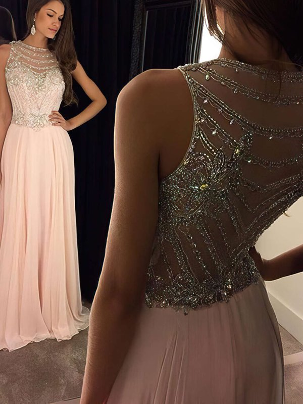 Chiffon A-line Beading Formal Dresses