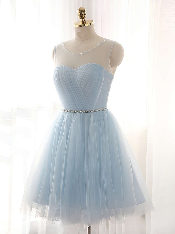 Elegant Light Sky Blue Prom Dresses