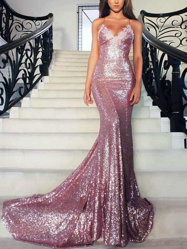 Open Back Mermaid Sequined Prom Dress