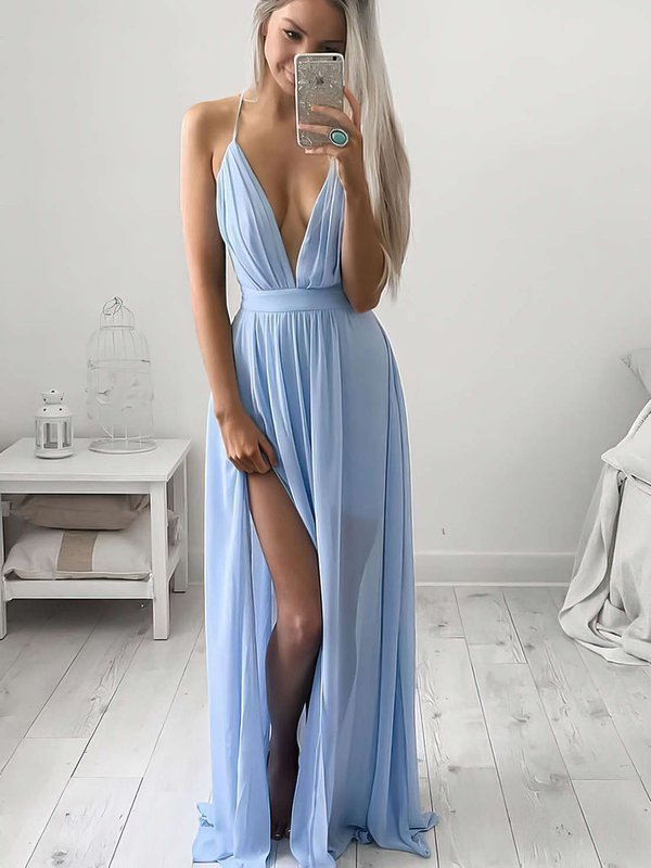 A-line V-neck Chiffon Super Simple Formal Dress with Slit