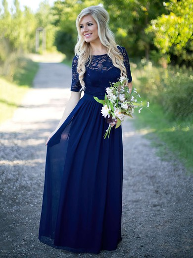 A-line Scoop Neck Lace Chiffon Floor-length Sequins Short Sleeve Bridesmaid Dress #UKM01012910