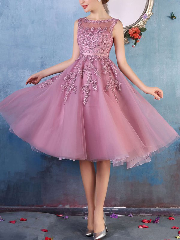 Tulle Modest Pink Dresses for Prom