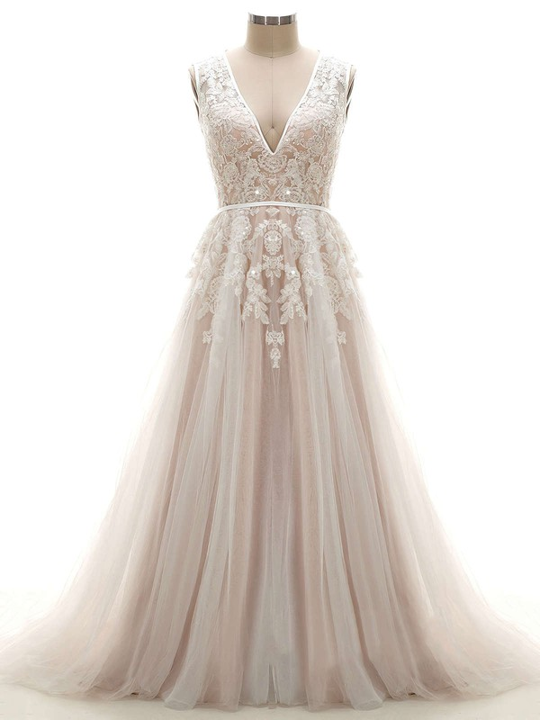 Elegant V Neck Ivory Amazing Wedding Dresses