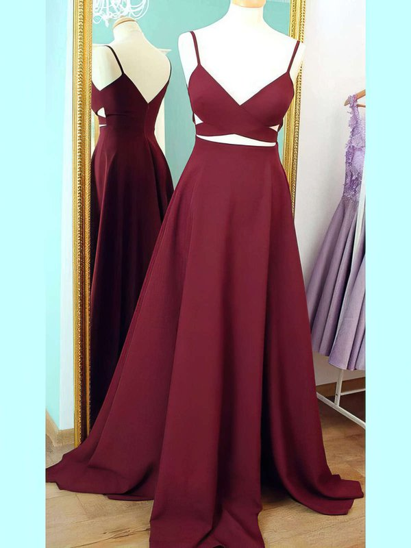 A Line V Neck Modest Prom Dresses