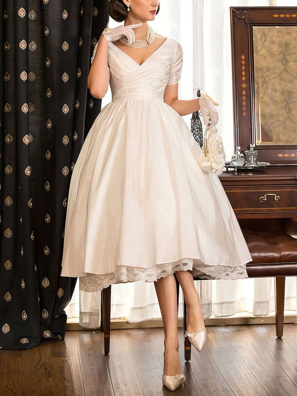 A Line Vintage Short Inexpensive Wedding Dress