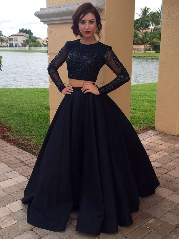 Ball Gown Long Sleeve Long Evening Dress