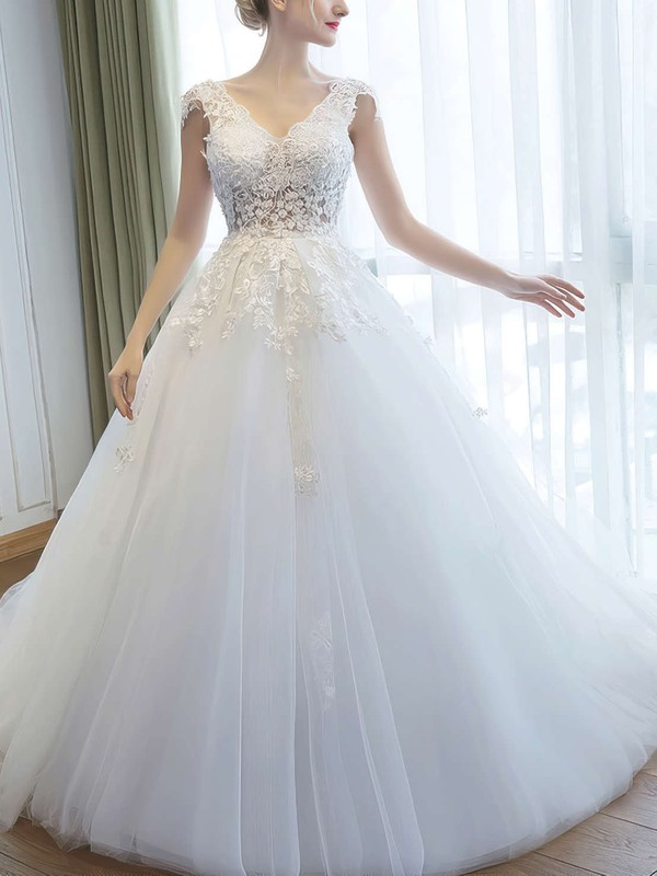 Ball Gown V Neck Tulle Beautiful Bridal Gowns
