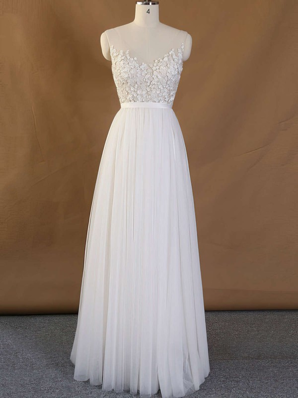 Elegant Open Back Ivory Inexpensive Bridal Gowns