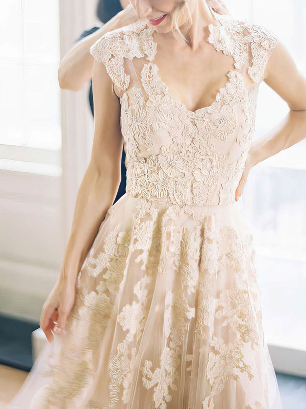 A Line Vintage Lace Bridal Dress