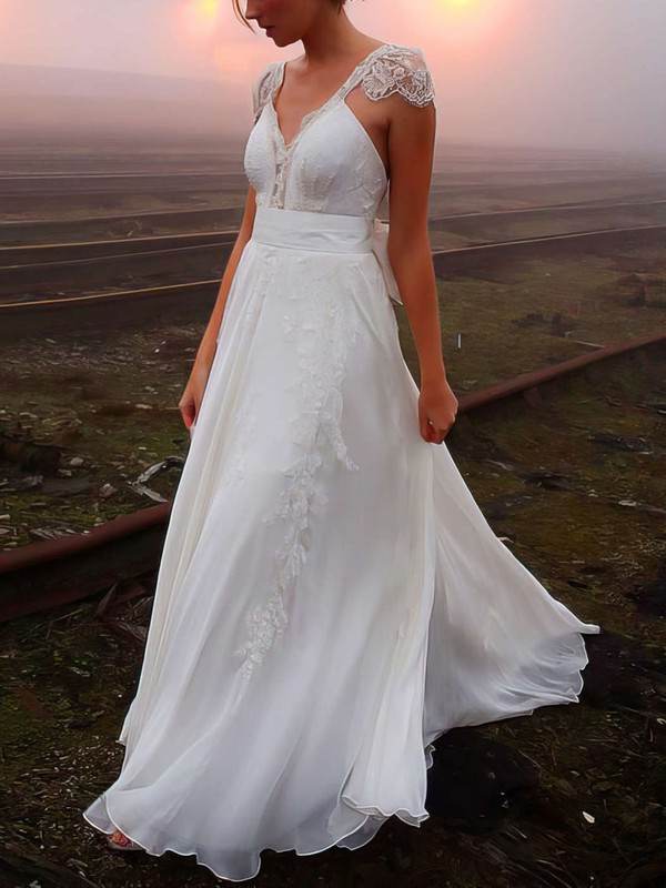 A Line V Neck Chiffon Affordable Wedding Dress