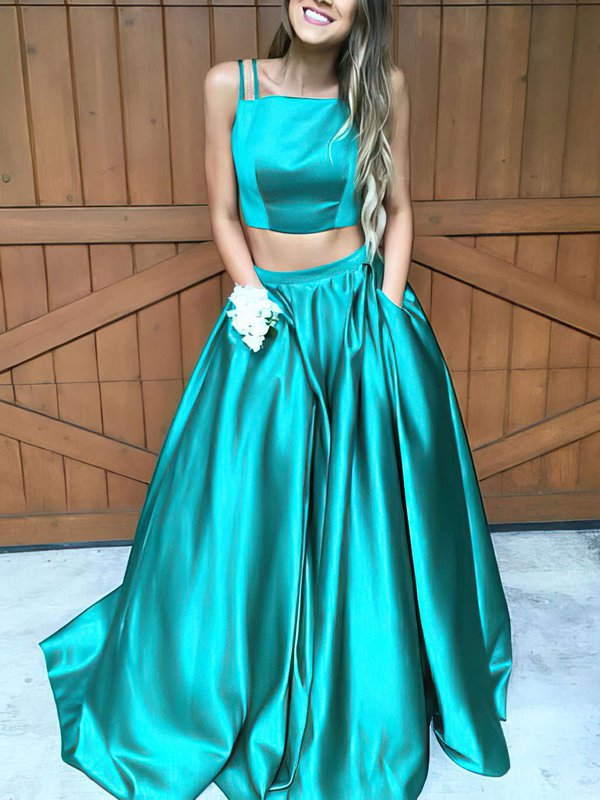 Jade Two Piece Cheap Custom Formal Dresses with Pockets