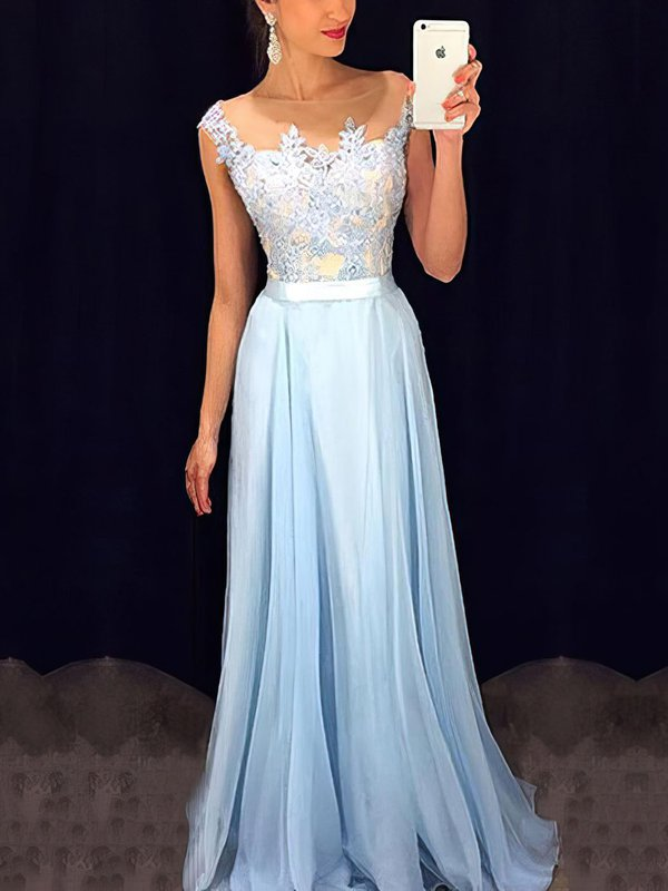 Blue Chiffon Cheap Custom Formal Dresses