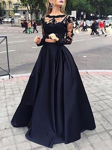 Scoop Neck Black Tulle Elastic Woven Satin Appliques Lace Long Sleeve Two Piece Prom Dress #UKM020102335