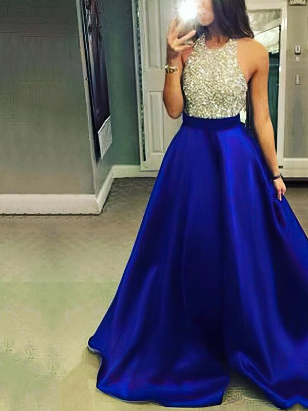 Long Ball Gown Royal Blue Prom Dresses with Pockets