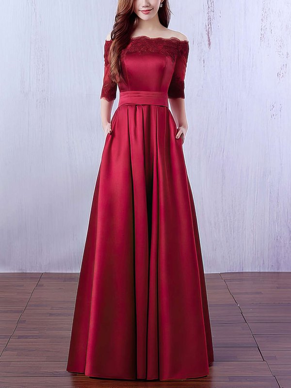 Burgundy Cheap Custom Evening Dresses with Sleeves