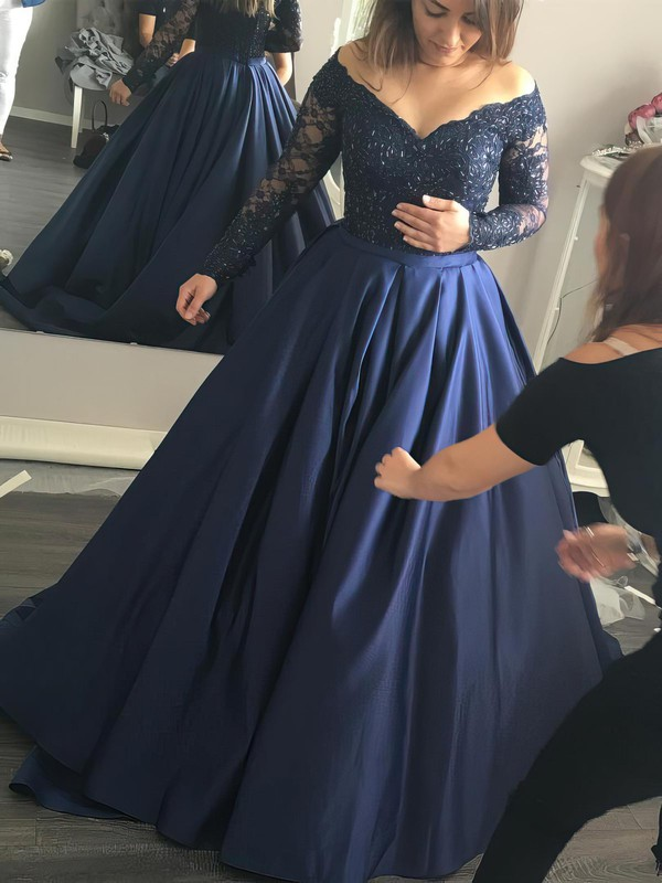 Ball Gown Off-the-shoulder Satin Beading Very Casual Formal Dress