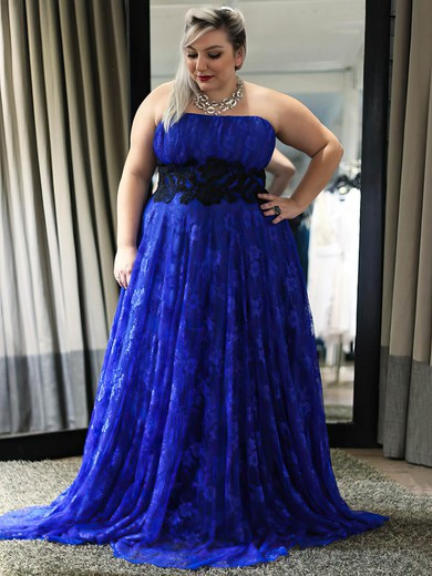 Empire Strapless Lace with Appliques Lace Sweep Train Royal Blue Boutique Plus Size Prom Dresses #UKM020103426