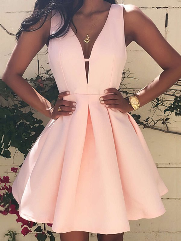 Sweet & Flow V Neck Pink Evening Dress