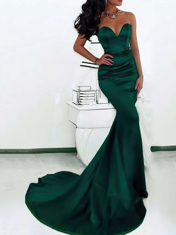 Mermaid Sweetheart Satin Super Simple Evening Dresses