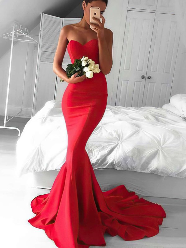 Mermaid sweetheart jersey red prom dress