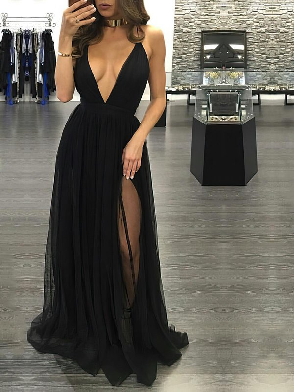 Open Back A Line Black Dresses for Prom
