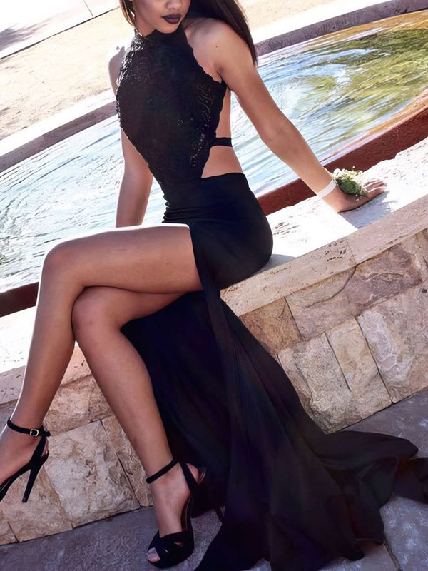 Black High Neck Cheap Prom Dresses Jersey