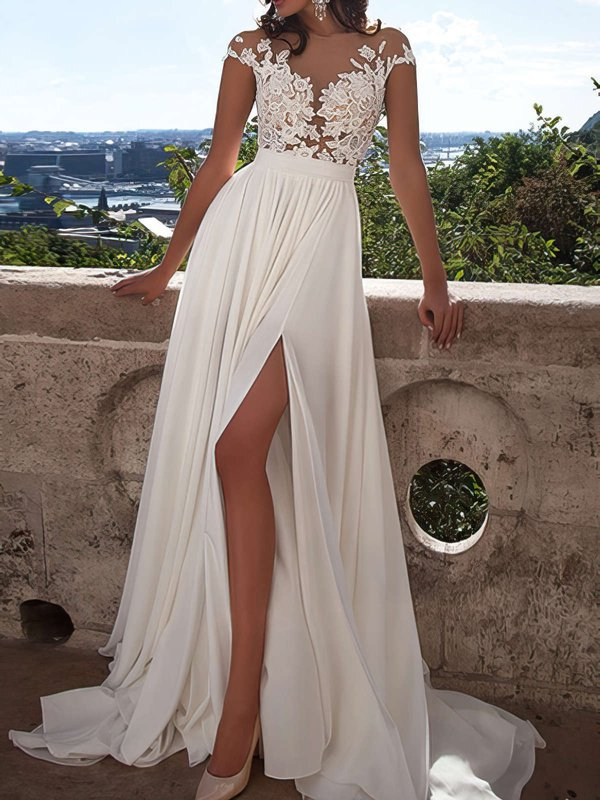 White Lace Cheap Evening Dresses