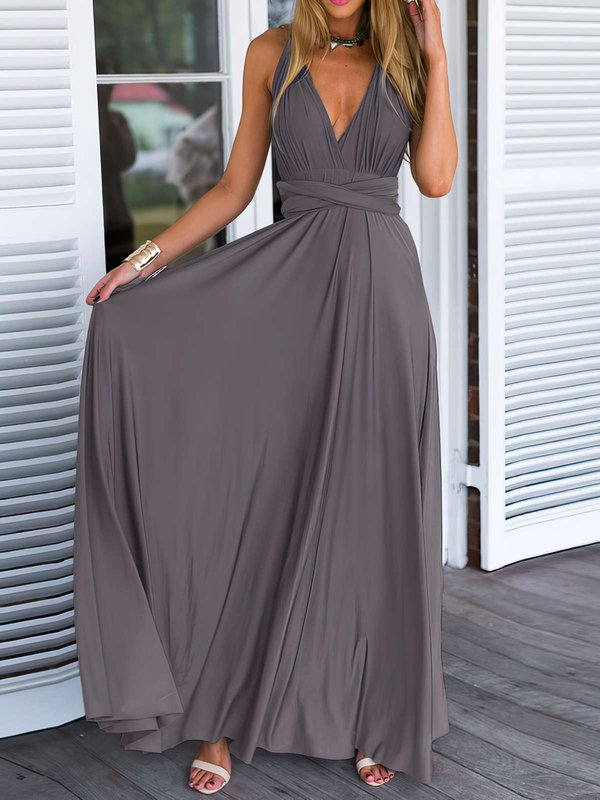 Open Back V Neck Gray Evening Dress