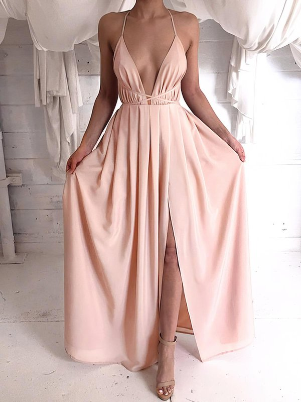 Open Back V Neck Chiffon Formal Dress
