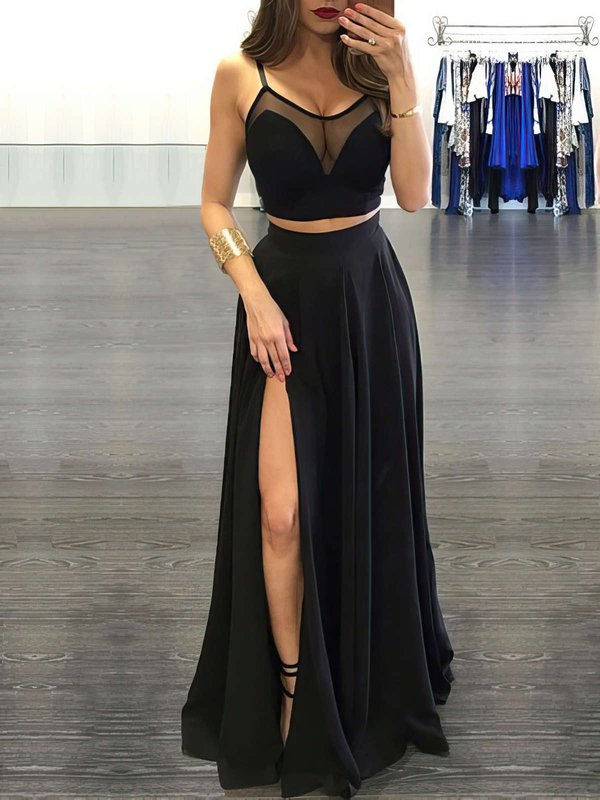 Black Cheap Prom Dresses with Slit