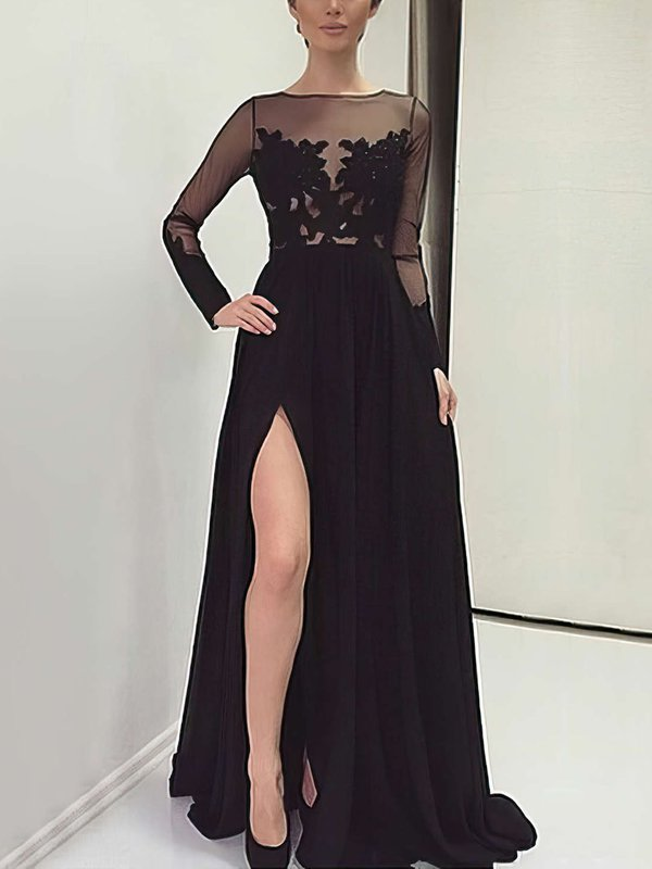 Long Sleeve Elegant Chiffon Dress for Prom with Slit