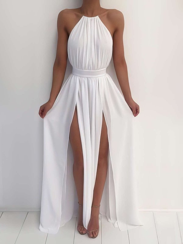 A-line Halter Chiffon Simple Dresses for Prom with Slit