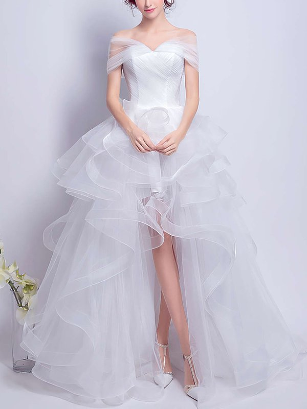 High Low Princess Off The Shoulder Beautiful Wedding Dresses