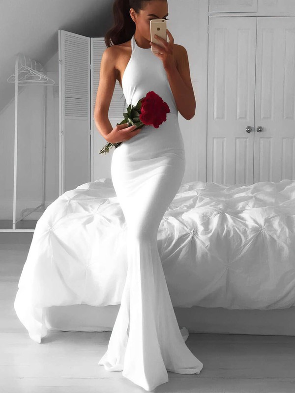 Mermaid Halter Chiffon Gorgeous Bridal Dress