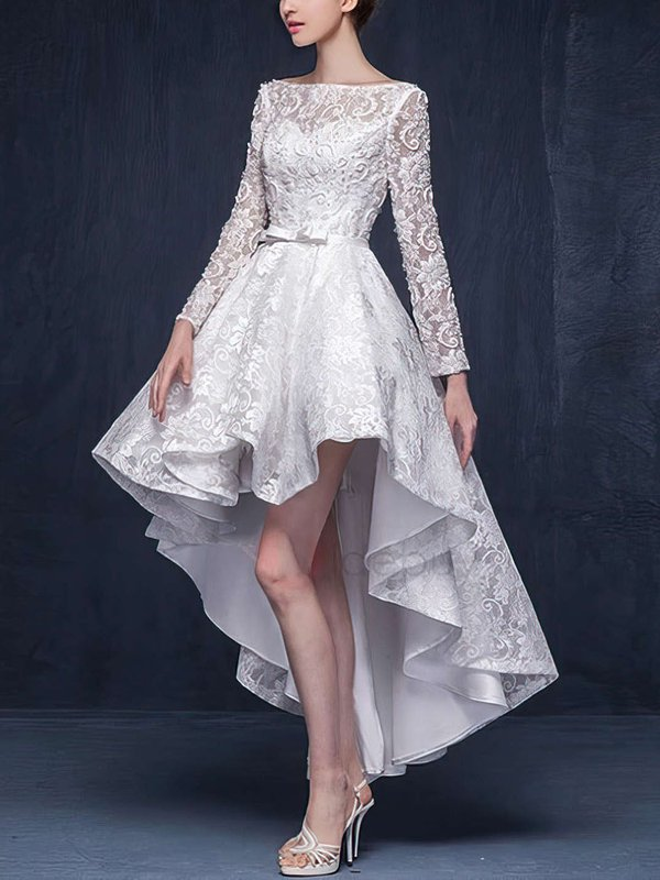 High Low Lace Ivory Pretty Dresses for Wedding