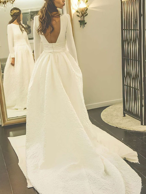 Open Back A Line Long Sleeve Amazing Bridal Gowns