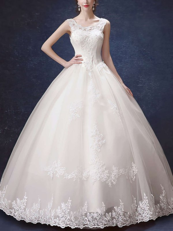 Elegant Satin Sequins Pretty Wedding Gown