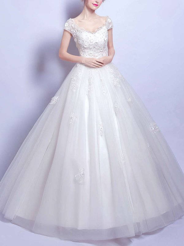 V Neck Sequins Pretty Wedding Dress with Sleeve