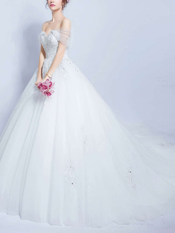 Elegant Off The Shoulder Tulle Pretty Dress for Bridal