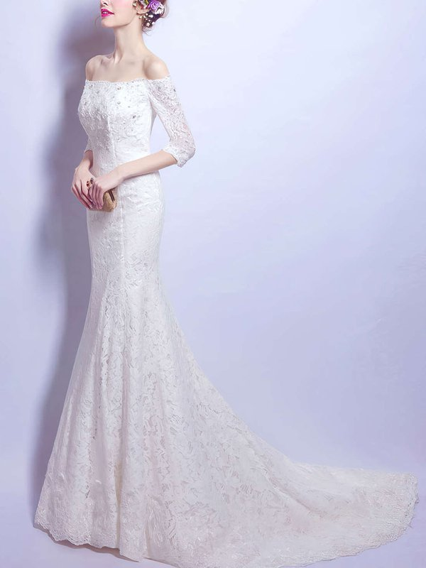 Mermaid Lace Ivory Casual Wedding Gowns
