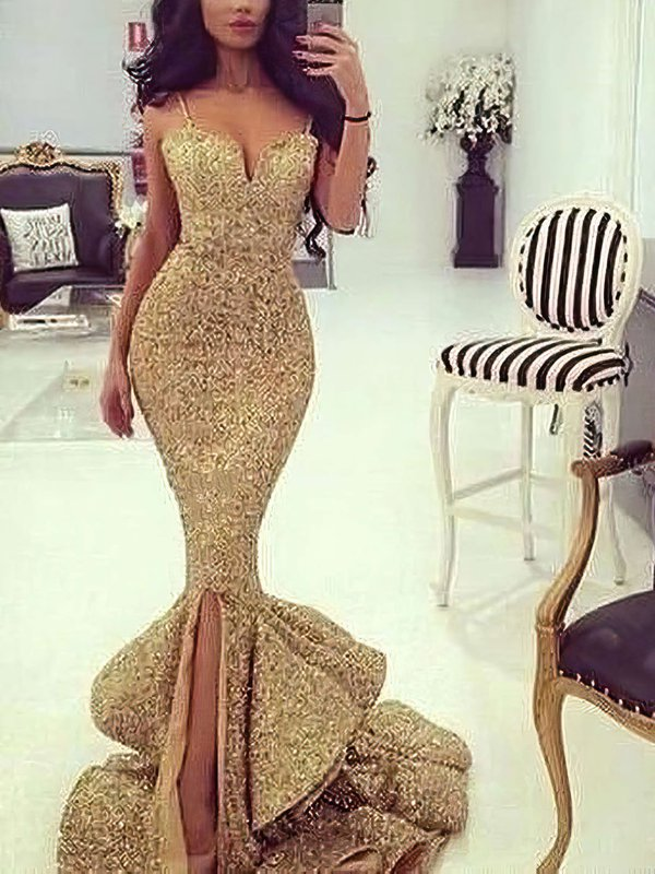 Mermaid V-neck Sequined Sparkly Evening Dress with Slit