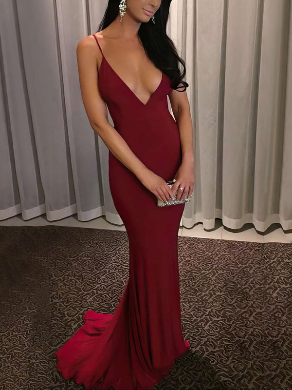 Red V-neck Cheap Evening Dresses Jersey