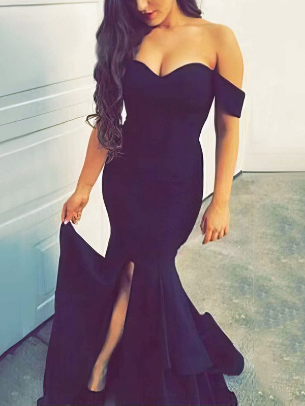 Mermaid Black Off-the-shoulder Formal Dresses