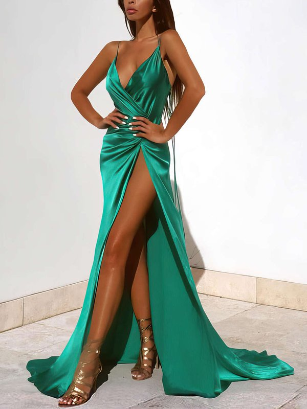 Sexy V-neck Cheap Custom Party Dresses with Slit