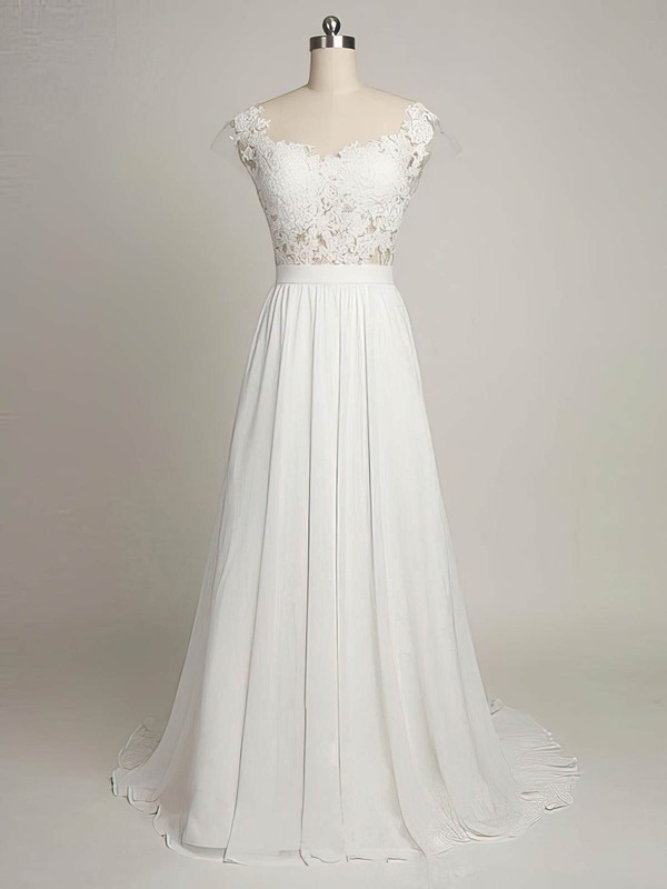 A Line Open Back Chiffon High Quality Dresses for Bridal